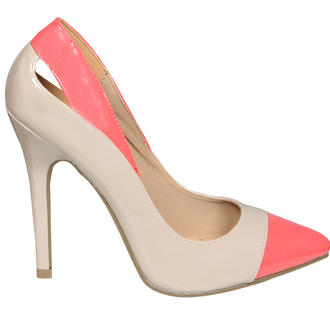 View Item Patent Colour Block Cut Out Shoe